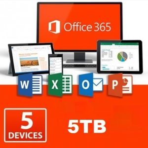 Office 365 Home for 5 PC/Mac+5TB OneDrive – 1 year