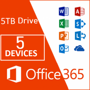 Office 365 Professional Plus+5TB OneDrive for 5 PC Windows/Mac- 1 Year